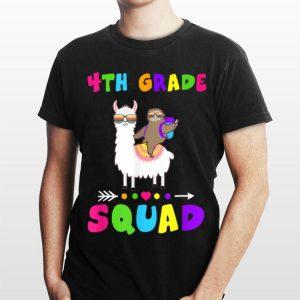 Team 4th Grade Squad 1st Day of School Sloth Llama shirt