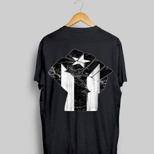 The Raised Fist Puerto Rico Resiste Black Flag shirt