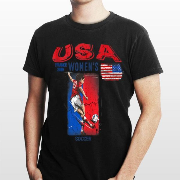 Usa Women Soccer France 2019 American Flag Rabona Skill shirt