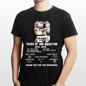 9 Years of One Direction thank you for the memories signature shirt