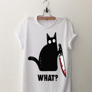 Cat What Murderous Black Cat With Knife shirt