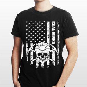 Coal Miner American Flag Skull shirt