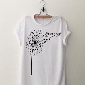 Dandelion I love my flower note music shirt