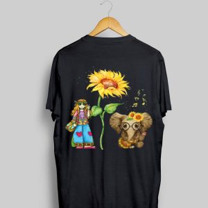 Hippie Girl Sunflower Elephant Guitar shirt