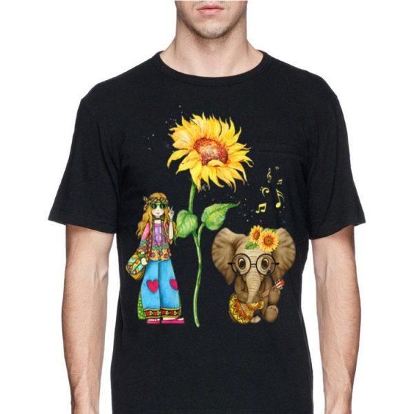 Hippie Girl Sunflower Elephant Guitar shirt