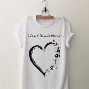 I am a simple woman heart camping mountain wine animals and flip flop shirt