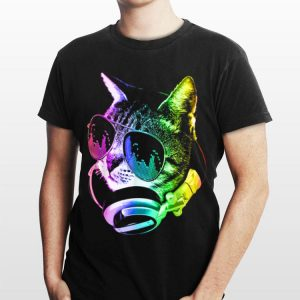 Rainbow Music Dj Cat shirt