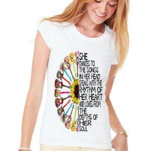 She Dance To The Song In Her Head Speaks With The Rhythm Of Heart Heart Guitar Hippie Sunflower shirt