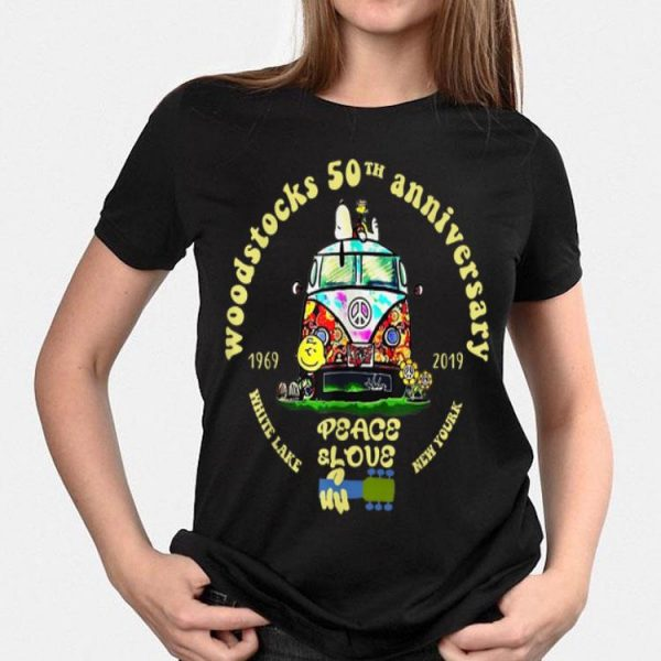 Woodstock 50th Anniversary Peace Bus Snoopy and Charlie Brown White lake New york shirt