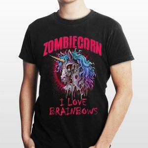 Zombie Unicorn I Love Brainbows Halloween shirt