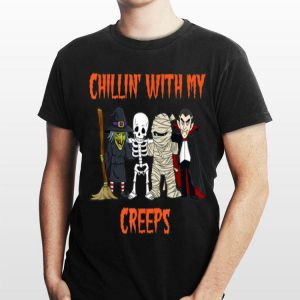 Chillin With My Creeps Vampire Halloween Skeleton Witch shirt