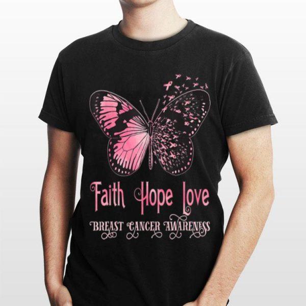 Faith Hope Love Pink Butterfly Breast Cancer Awareness shirt