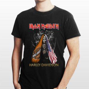 Iron Maiden Harley Davidson Skull American Flag shirt