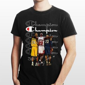 Kobe Bryant Michael Jordan and LeBron James Champion signatures shirt