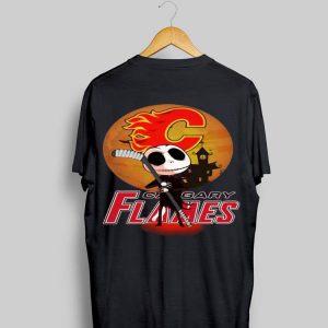 Jack Skellington Holding Hockey Stick Calgary Flames Sunset shirt