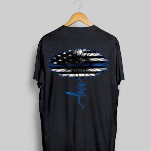 Love Thin Blue Line Sunflower shirt
