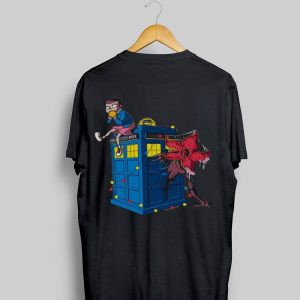 Stranger Things Eleven and Demodog Doctor Who Police Public Call Box shirt