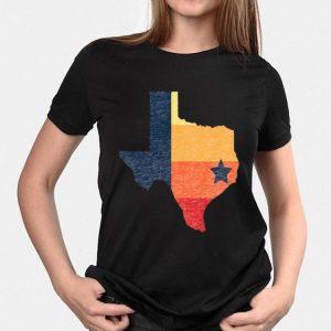 Vintage Texas Map Houston Baseball Colors shirt