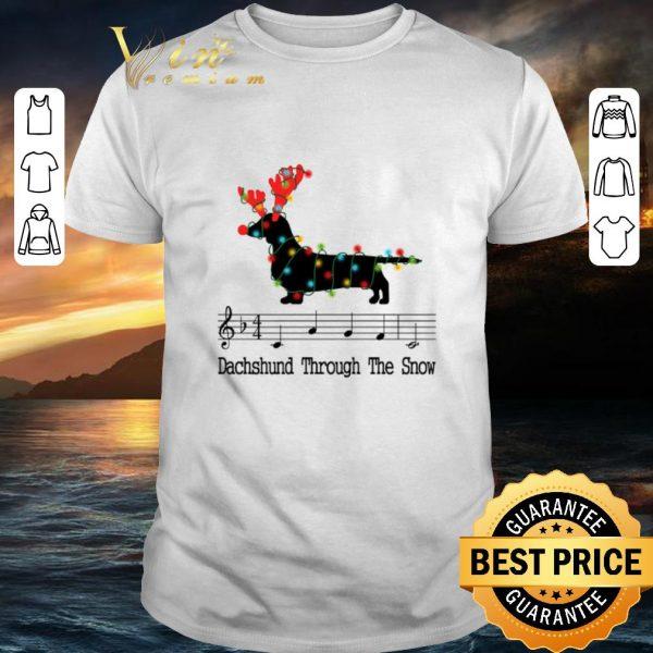 Hot Music note Dachshund through the snow Christmas shirt