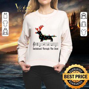 Hot Music note Dachshund through the snow Christmas shirt 1