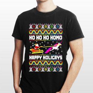 LGBT Santa riding Unicorn ho ho ho homo happy holigays Christmas shirt