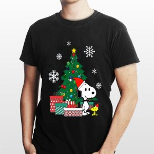 Snoopy and Woodstock around the Christmas tree sweater