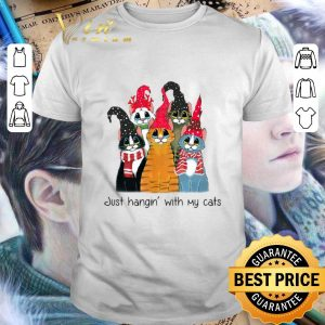 Top Just Hangin with cats Christmas shirt