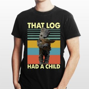 Baby Groot hug baby Yoda that log had a child vintage sweater