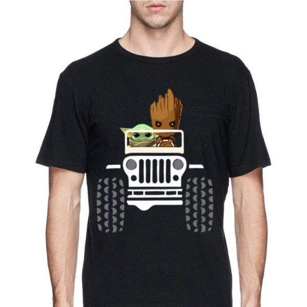 Baby Yoda And Baby Groot Driving Jeep shirt