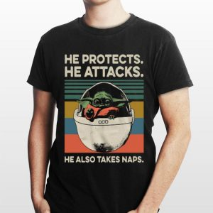 Baby Yoda He Protects He Attacks He Also Takes Naps Vintage sweater