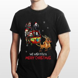 Horror character Hippie car riding Reindeer we wish you a merry christmas sweater