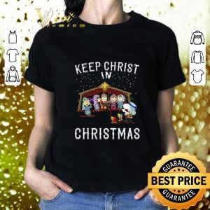Hot Peanuts characters Keep Christ in Christmas Snoopy Charlie Brown shirt