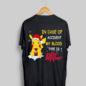 Santa Pikachu In case of accident my blood type is Dr pepper sweater