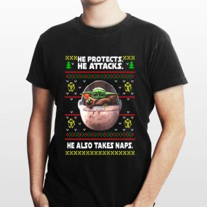 he protects he attacks he also takes naps ugly christmas Baby Yoda sweater