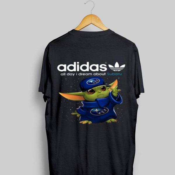 Adidas All Day I Dream About Subaru Baby Yoda shirt