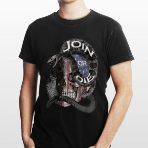 Join or die skull American flag shirt