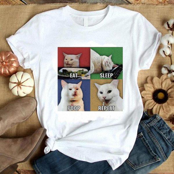 Smudge Cat meme eat sleep poop repeat shirt
