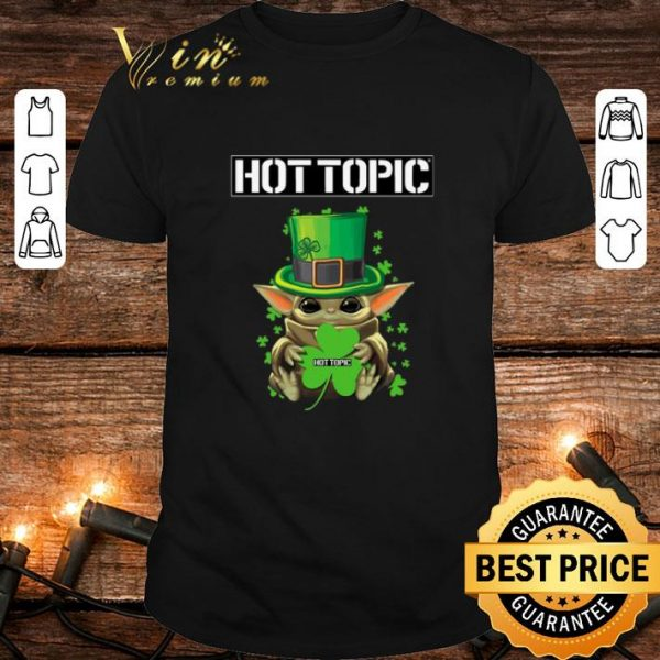 Hot Baby Yoda hug Hottopic Shamrock St Patrick's Day Star Wars shirt