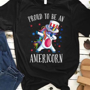 Proud To Be An Americorn America Rainbow Unicorn shirt
