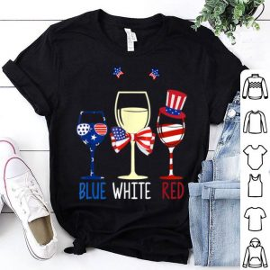 4th Of July Blue White Red Wine Glasses Patriotic shirt