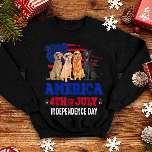 4th Of July Fun American Flag Labrador Dog Lover Gift Shirt