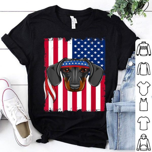 4th of July American Flag USA dachshund shirt