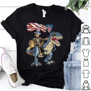 Abe Lincoln Murica T- Rex 4th Of July Usa Flag Shirt