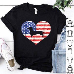 American Flag Heart Love Dachshund Dog Usa 4th Of July Shirt