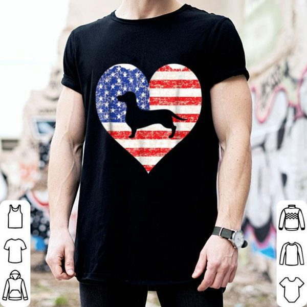 American Flag Heart Love Dachshund Dog Usa 4th Of July Shirt