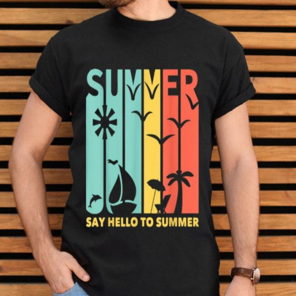 Artistic Beach View Of Summer And Quot Say Hello To Summer Shirt