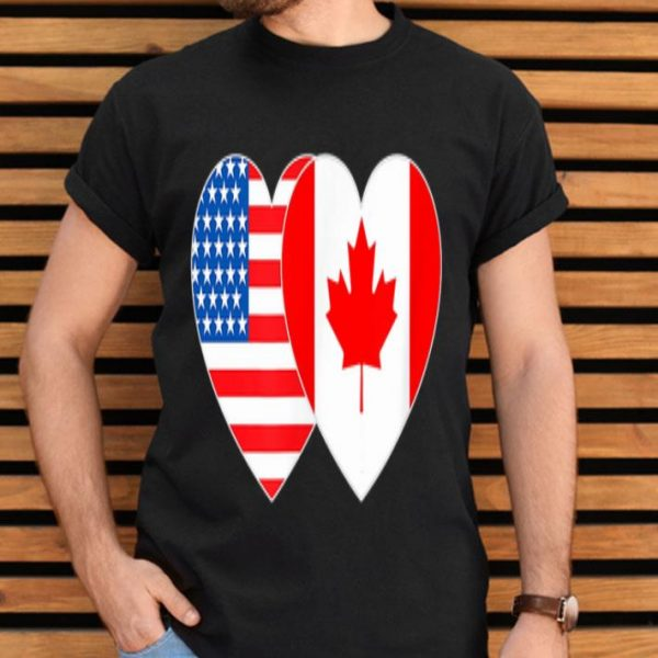 Canada And USA Flag Twin Heart For Canadian Americans July 4th shirt