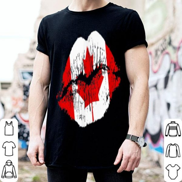 Canada Flag Kiss Fitted - Canadian Smooch Lips Gift shirt