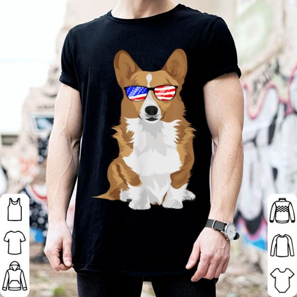 Corgi 4th July Sunglasses American Flag shirt