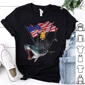 Donald Trump Riding Shark 4th Of July American Flag shirt